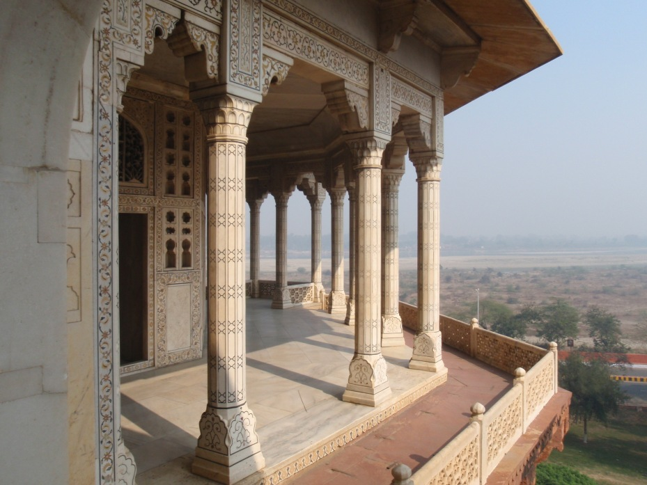 From this terrace in Agra Fort where he was under house arrest, Shah Jahan could see his Taj Mahal, and this is where he died.
