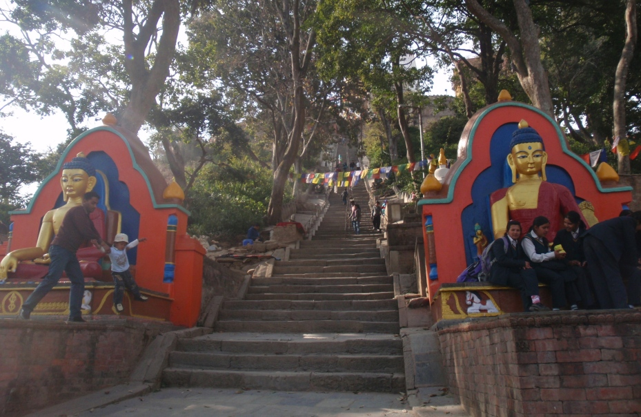 The first of the 365 steps to the Monkey Temple.