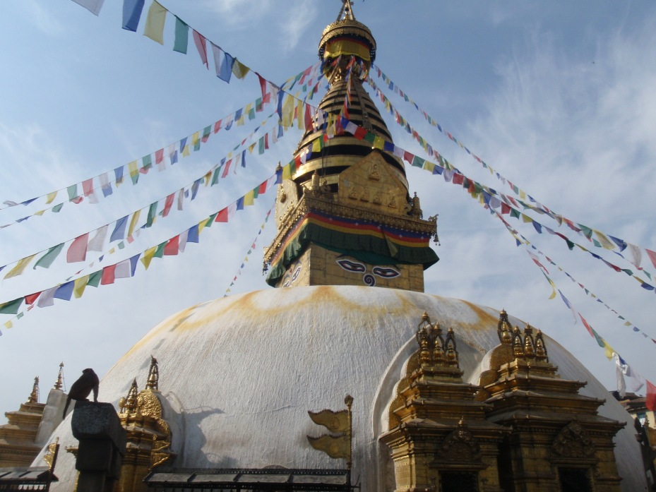 The eyes of Buddha look out over the Kathmandu Valley.