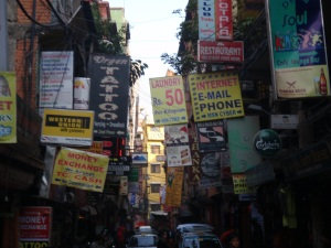 A typical street in Thamel