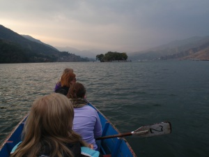 Paddling toward Temple Island in Pokhara.