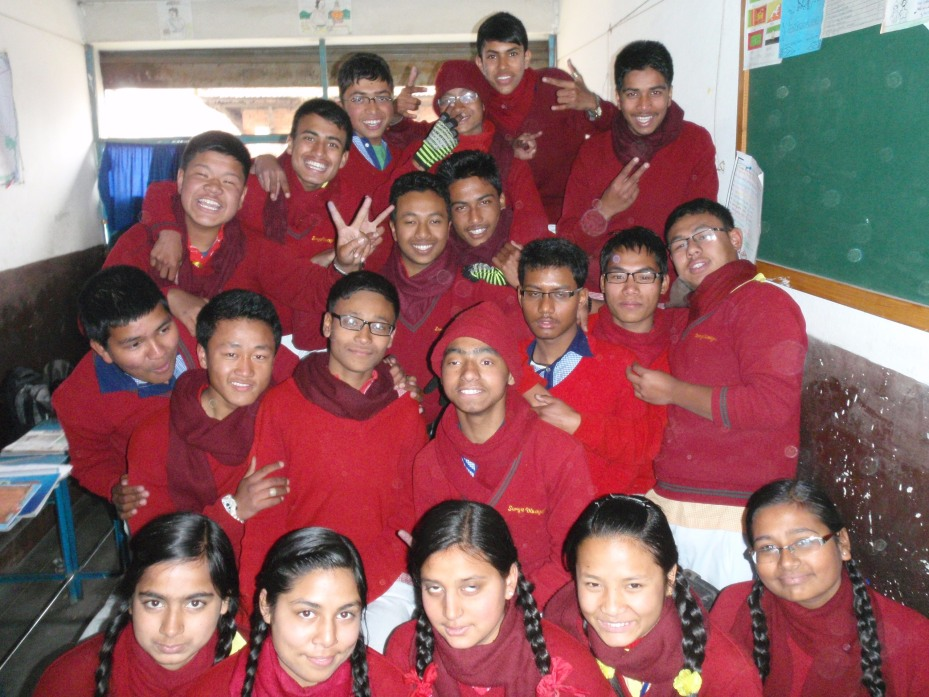 Class Ten. (Arun is in the middle in the red cap.)