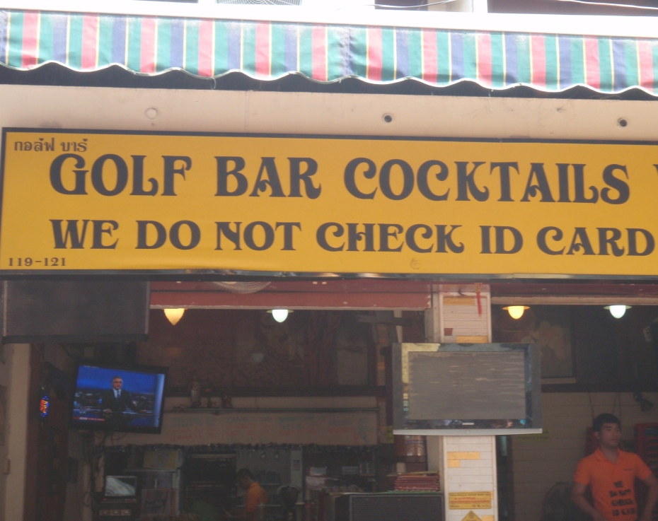 """I took this from a moving cab and went back a couple of days later to find out where the """"golf"""" fit in, but it was  a Buddhist holiday and they were closed."""