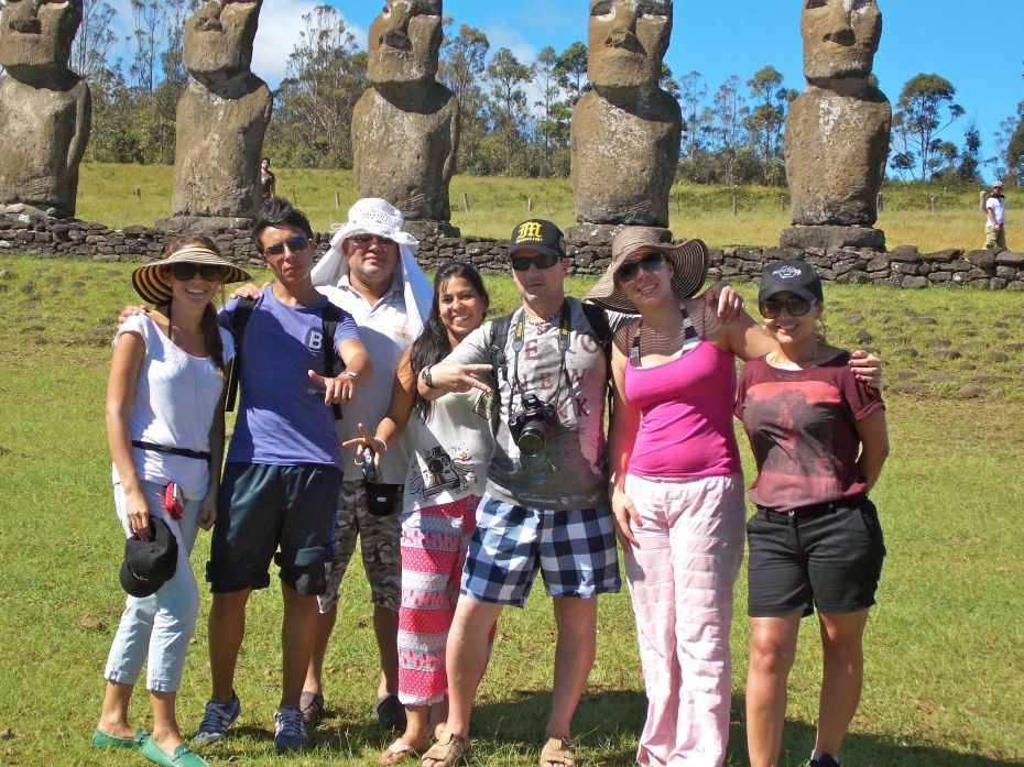 A group of very nice and fun Colombians pose at Ahu Akivi.