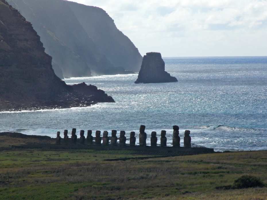 The Ahu Tongariki shrine, from the Moai quarry several miles away.