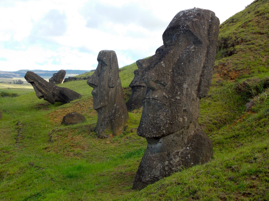 Heads of some of the 400 Moai at the main quarry site.