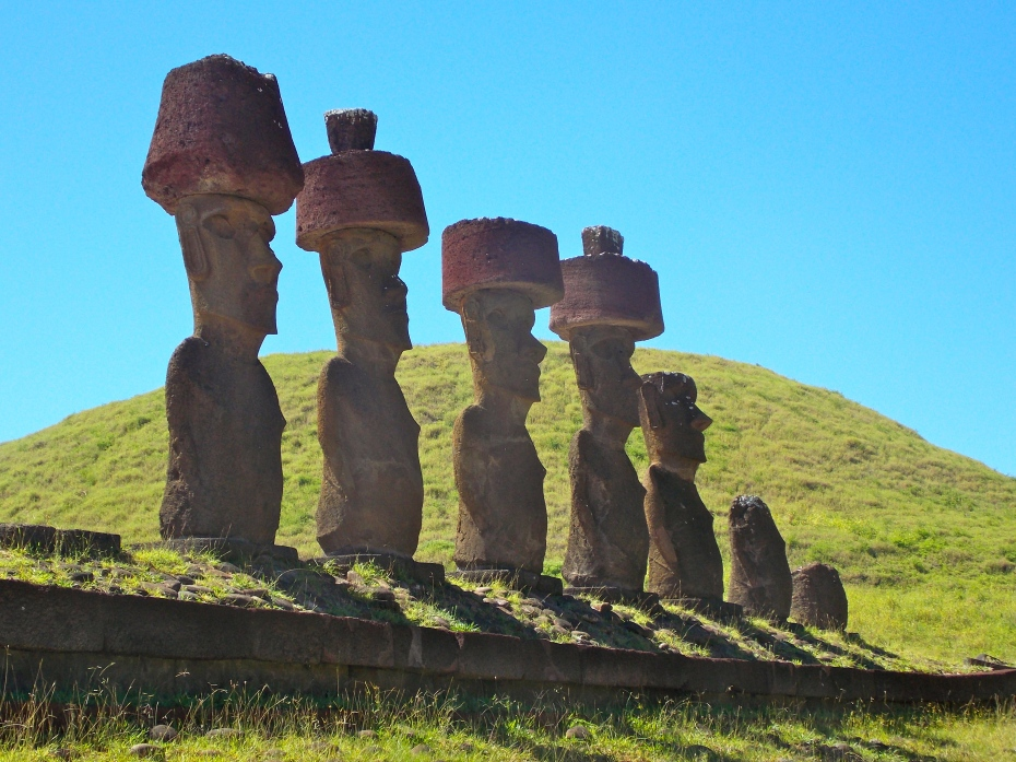 Ahu ---- includes four Moai with topknots.