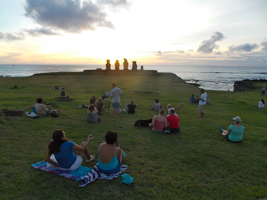 The temple at T---- is a popular spot at sunset.