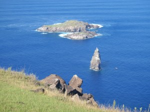 The far island is Mota Nui, where the frigate birds nested.