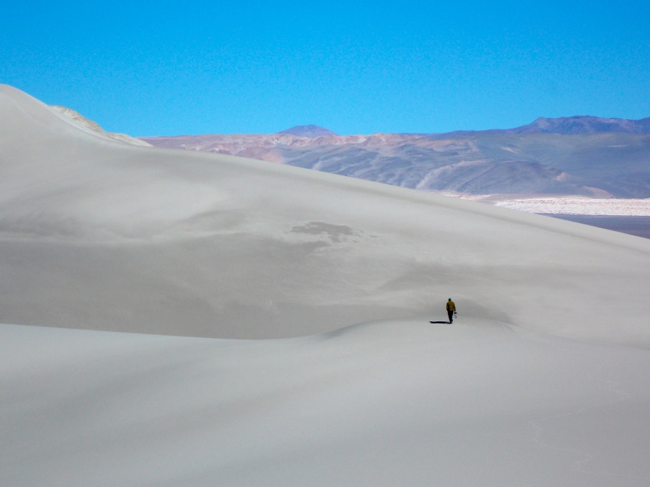 Sebastian provides some perspective. The sand here is all blown over into this corner of the mountains from ...