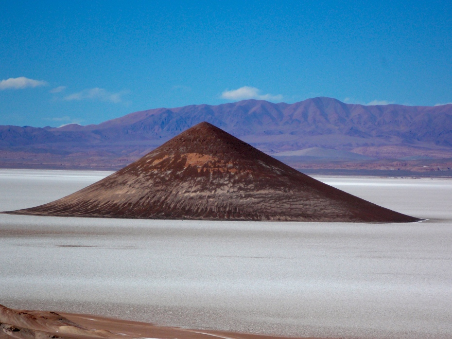The mysterious Cono rises out of the salt flats.