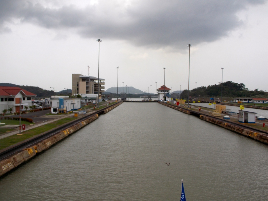 Heading through the Panama Canal, toward the Pacific Ocean.