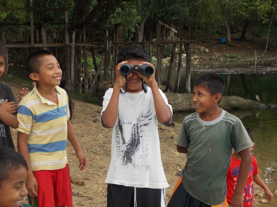 The indigenous kids got a kick out of the binoculars.