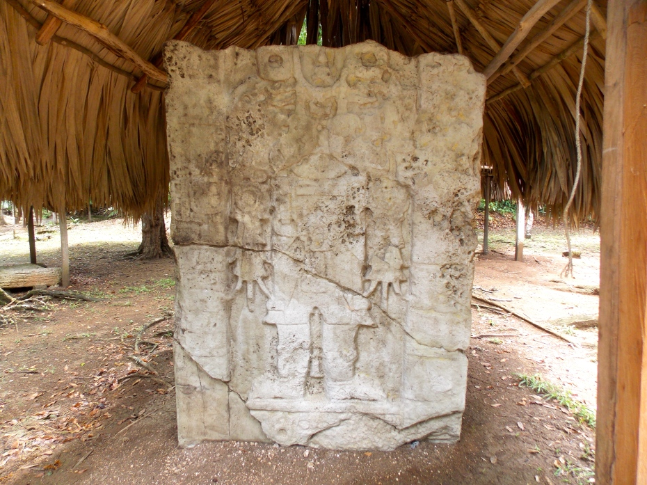 One of the many steles at Waka.